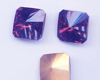 Four  vintage Swarovski crystal stones - art 4650 - siam red - 18 mm
