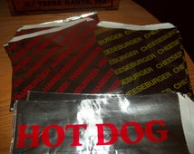 Retro Foil Mix Hamburger Cheeseburger Hot Dog Bags Holders Picnic Cookout Birthdays  Set of 30