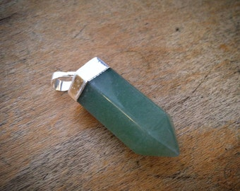 Pencil Point Green Aventurine Pendant Dipped Sterling Silver 30mm Pointer Gemstone Jewelry Making Supplies
