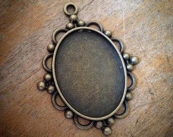 2 Pcs Large Oval Picture Frame Antique Bronze Vintage Style Ornate Pendant Charm Jewelry Supplies (D003)