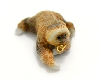 1 - Porcelain Climbing Sloth Hand Painted Glaze Ceramic Animal Small Sloth Bead Jewelry Supplies Little Critterz Porcelain (CA075)