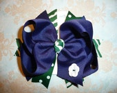 RESERVED LISTING for Jennifer (Navy, Hunter Green and White hairbow; Child's hairbow; boutique hairbow)