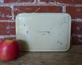 Vintage Sandwich Box - Small Yellow Tin Storage Box