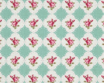 Tanya Whelan Fabric - Free Spirit - Rosey - Cameo Rose - Teal - Choose Your Cut-1/2 or Full Yard
