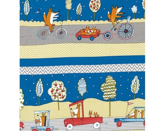 Dena Designs - Free Spirit Fabric - Fox Playground - Transportation - Navy - Choose Your Cut-1/2 or Full Yard