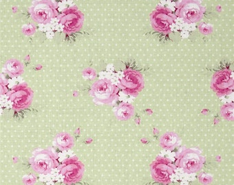 Tanya Whelan - Free Spirit Fabric - Slipper Roses - Dottie Rose - Green - Choose Your Cut-1/2 or Full Yard