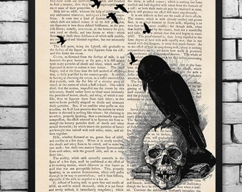 Edgar Allen Poe's The Raven Collage Print on an Unframed Upcycled Bookpage