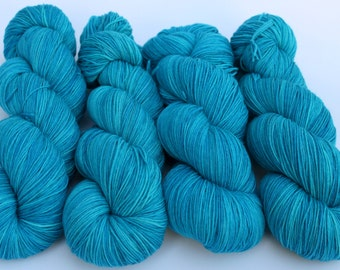 """December Birthstone Yarn, Kettle Dyed Superwash Merino and Nylon 75/25 Fingering Weight, in """"Turquoise"""""""