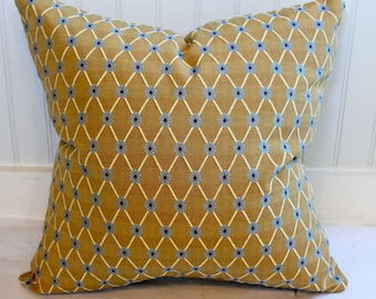 Gold, Blue and Ivory Diamond Pillow Cover / 18 X 18 / Designer fabric with same fabric both sides