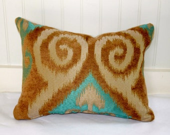 IN STOCK / Tan and Turquoise Ikat Pillow Cover / 12 X 16 /  Upholstery fabric same on both sides