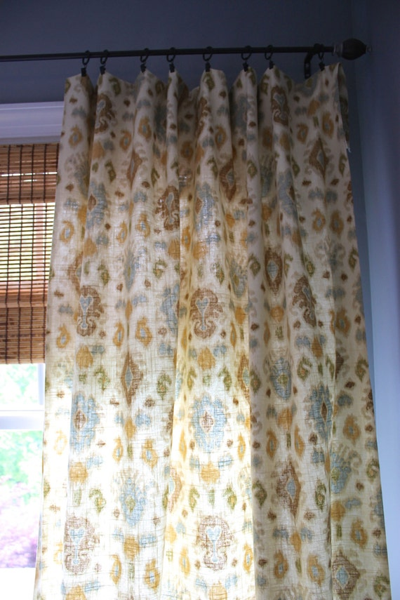Blue Gold Green Brown and Ivory Ikat Curtain by StitchandBrush : il570xN765060936hf82 from www.etsy.com size 570 x 855 jpeg 127kB