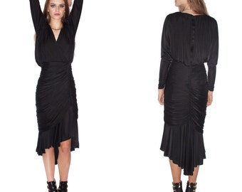 Vintage Black witch goth cocktail plunging neckline long sleeve Draping Fishtail Dress// Size S