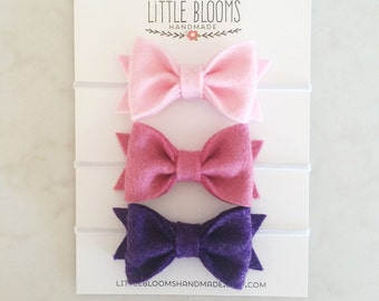Felt Bow Headbands - Pick Your Colors - newborn - baby - toddler - child