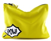 Comic Leather Statement Clutch | Yellow Clutch | Pow Clutch | Cowhide Leather | Handbag | Handmade