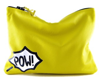 Comic Leather Statement Clutch | Yellow Clutch | Pow Clutch | Cowhide Leather | Handbag | Handmade