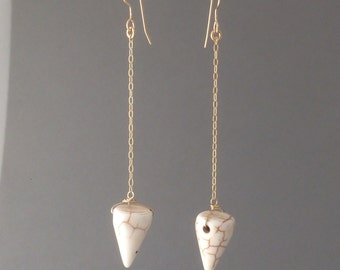 White Spike Chain Earrings in Gold or Silver