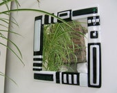Monochrome Fused Glass Mirror in Black & White