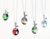Crystal pure leaf pendant necklace on leaf bail, spring trend, fall trend