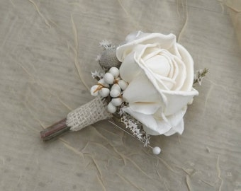 Sola Boutonniere Rose with Tallow Berries Silver Brunia Rustic Woodland Wedding MADE OT ORDER