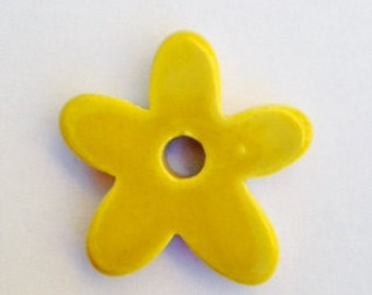 Yellow Ceramic Starflower Bead