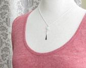 Aquamarine Hammered Silver Bar Necklace, Hammered Silver Pendant, Aquamarine Jewelry, Item N159