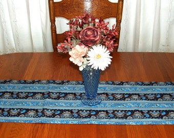 TABLE RUNNER BLUE Paisley with Blues and Browns