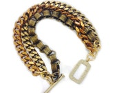Retrograde Brass Chain Bracelet // Mixed Metal // Vintage Brass