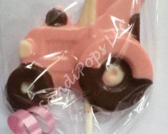 24 PINK Tractor, Farm, Animal, Barnyard Party Chocolate Lollipop Favor