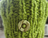 Green Knitted Coffee Cup Cozy - Coffee Sleeve - Reusable Cup Sleeve