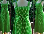 POLKA Dots 1960's Vintage Sexy Bright Green and White Wrap Dress with Bow size Small XS