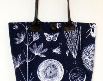 Navy Blue and White Cotton Print Tote Bag- Folding market tote in a botanical print fabric