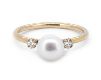 The Constance Ring - Akoya Pearl & Diamond Ring