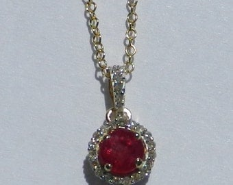 Natural .50 Carat Ruby & Diamond Pendant 14kt Yellow Gold With Appraisal
