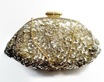 Vintage Evening Bag French Hand Sequined 1940s Bridal Wedding