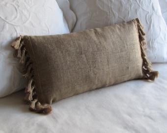 12 x 24 natural burlap pillow with burlap tassel fringe lumbar style toss decorative pillow