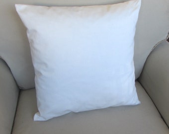18 inch square white organic cotton pillow cover 22.00+