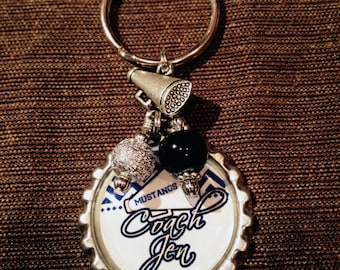 CHEER Coach or CHEERLEADER Gift, Personalized Key Chain, Cheerleader Accessory, Cheer Squad, Team Spirit, Sports
