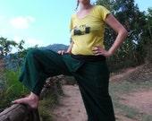 Thai fisherman  Pants, Batik, Cotton, Dark Green UNISEX -- comfy pants --