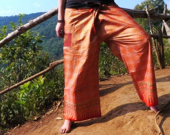 Thai Fisherman  Pants, Comfy Pants w Pocket, Orange & Gold with geometrical sun pattern