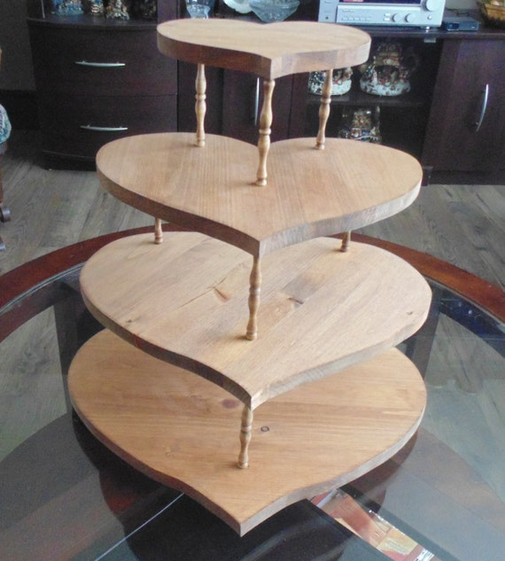 heart wedding cake stand items similar to rustic wooden wedding cupcake stand 15184
