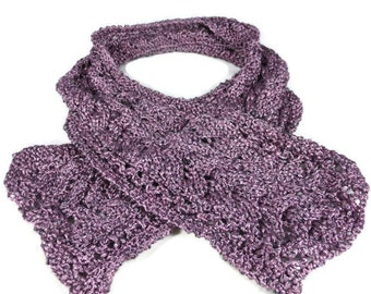 Hand Knit Cables and Lace Scarf