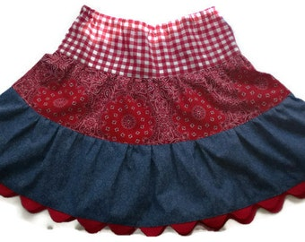 Western Skirt, Cowgirl Skirt, Toddler Skirt, Girl Skirt, Bandana Skirt, Twirl Skirt, Red Western Skirt, Red Gingham Check, Handmade Skirt