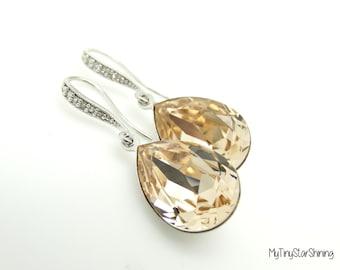 Champagne Earrings Cubic Zirconia Swarovski Crystal Light Silk Earrings Light Peach Earrings Teardrop Earrings Dangle Earrings