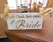 Uncle Here Comes your Bride (Gold)...Mr. and Mrs....Just Married...and they lived happily ever after...Purple...two sided sign.