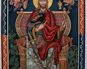 Saint Oswald, King of Northumbria, original icon, Orthodox Christian saints English, Print.