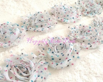 1 YaRd., Aqua and Pink Sprinkles Shabby Flower Trim, Polka Dot, Shabby Chic, Wholesale Flowers, DIY, Chiffon Rosettes, Boutique Flowers
