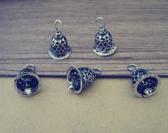 4pcs Antique Silver (copper) bell Charms pendant  12mmx17mm