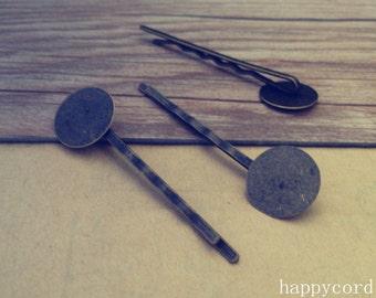 20pcs ( 15mm)  antique bronze hair clips/hair pins