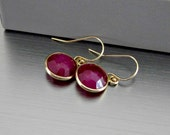 Ruby Gemstone Earrings in Gold Bezels - Simple - Elegant - Contemporary