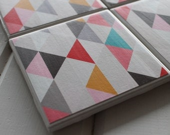 Colorful geometric Triangle Coasters Four Piece Ceramic Tile Set